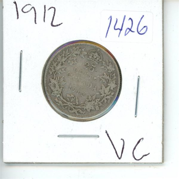 1912 Canadian 25 Cent Coin