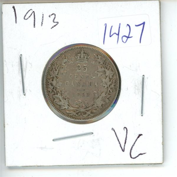 1913 Canadian 25 Cent Coin