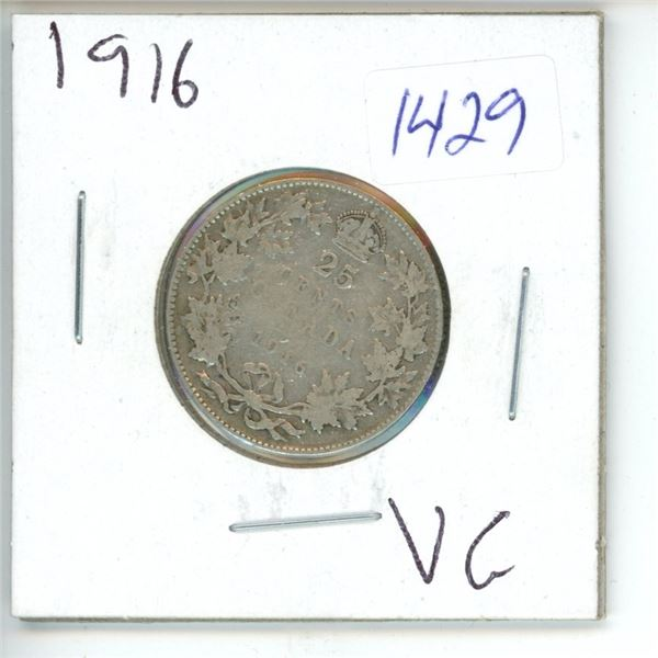 1916 Canadian 25 Cent Coin