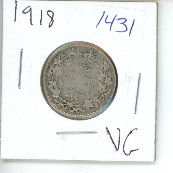 1918 Canadian 25 Cent Coin
