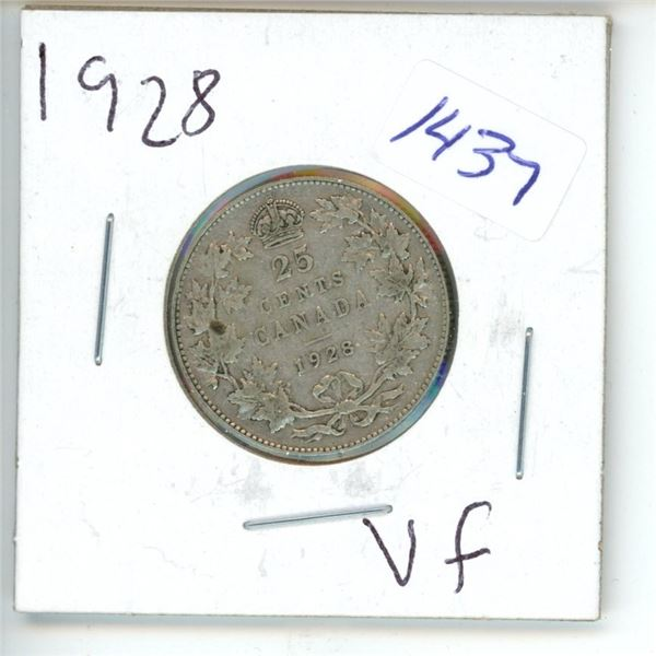 1928 Canadian 25 Cent Coin