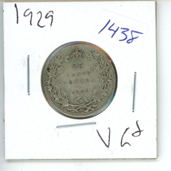 1929 Canadian 25 Cent Coin