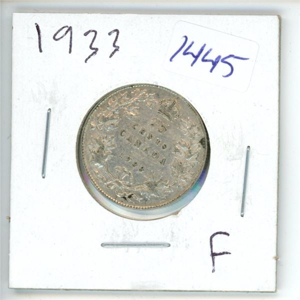 1933 Canadian 25 Cent Coin