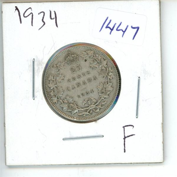 1934 Canadian 25 Cent Coin
