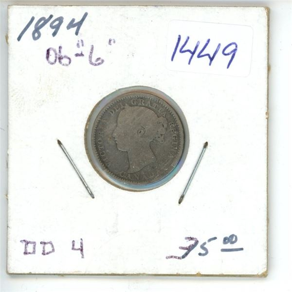 1894 Canadian 10 Cent Coin