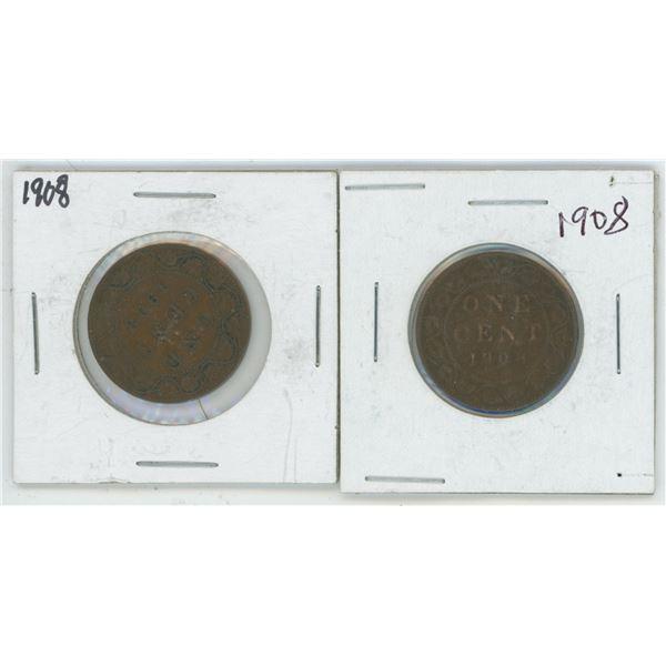 2 1908 Large Cents