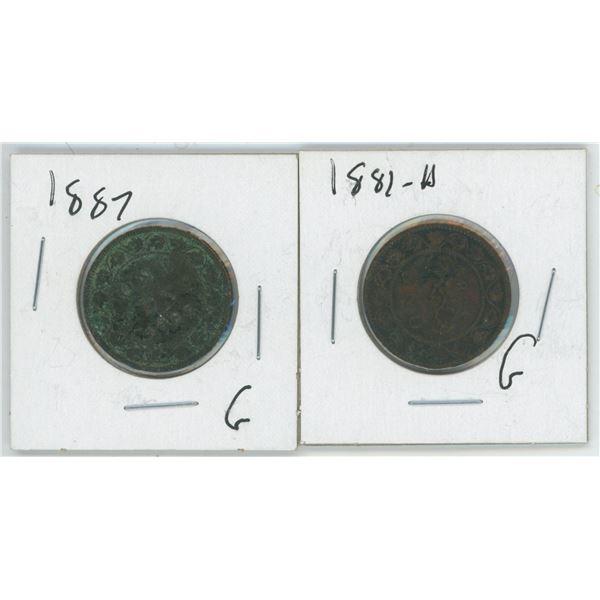 2 Large Cents 1882 & 1887