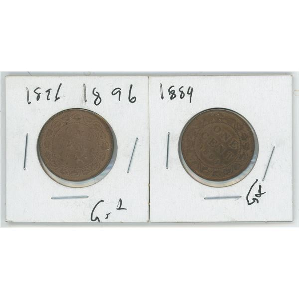 2 Large Cents 1896 & 1884
