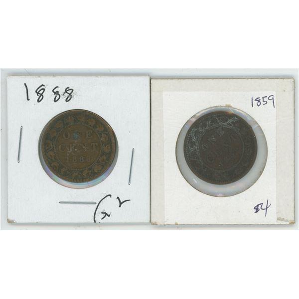 2 Large Cents 1888 & 1859