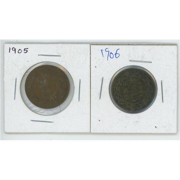 2 Large Cents 1905 & 1906