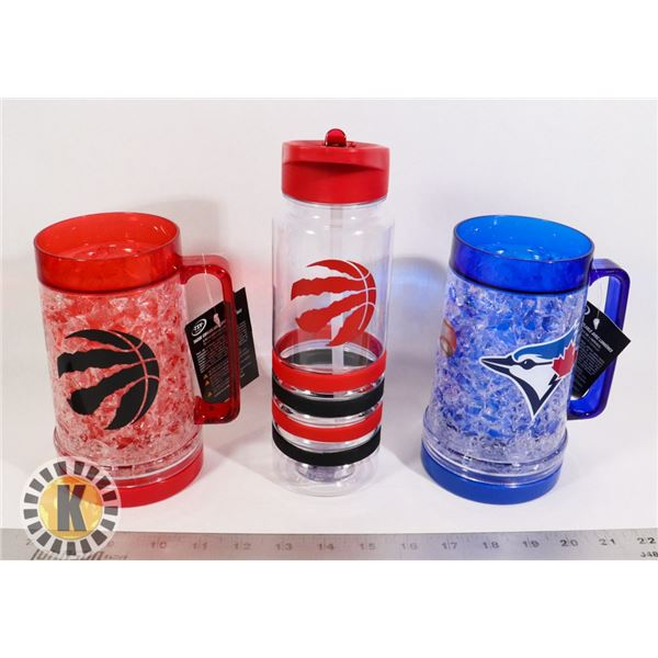 BAG OF SPORT TEAM THEMED WATER BOTTLE AND CUPS