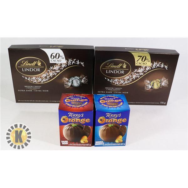 2 TERRY'S ORANGE & 2 LINDT LINDOR CHOCOLATE