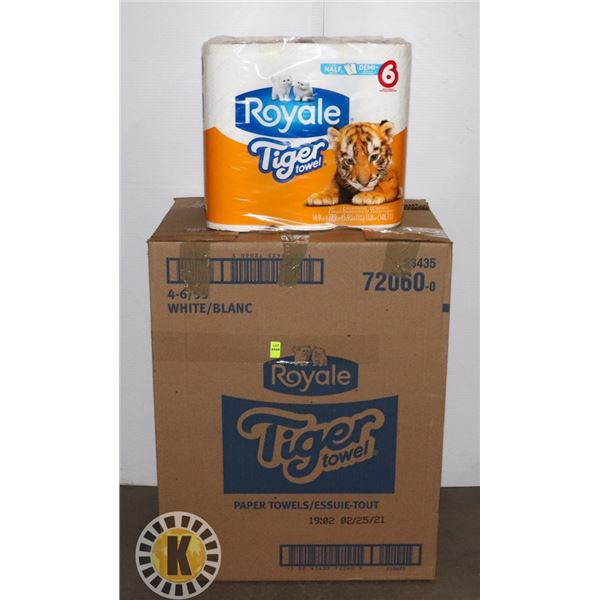 BOX OF 24 ROYALE TIGER TOWELS