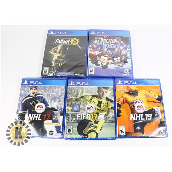BUNDLE OF 5 NEW PLAYSTATION 4 GAMES