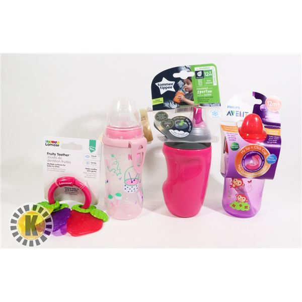 BAG OF NEW BABY/KID BOTTLE AND CIPS