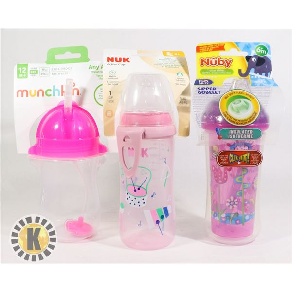 BAG OF BABY BOTTLES, FEEDERS AND CUPS