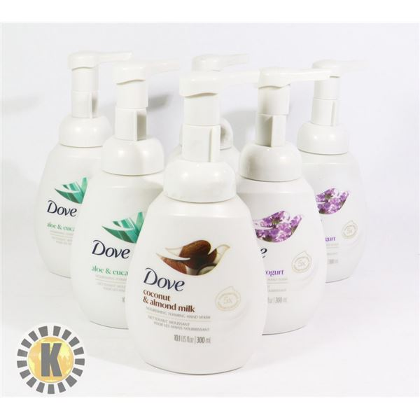 BAG OF ASSORTED DOVE HAND WASH SOAP
