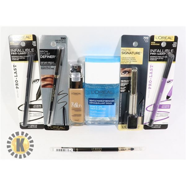 BAG OF L'OREAL EYELINERS, FOUNDATION & REMOVER