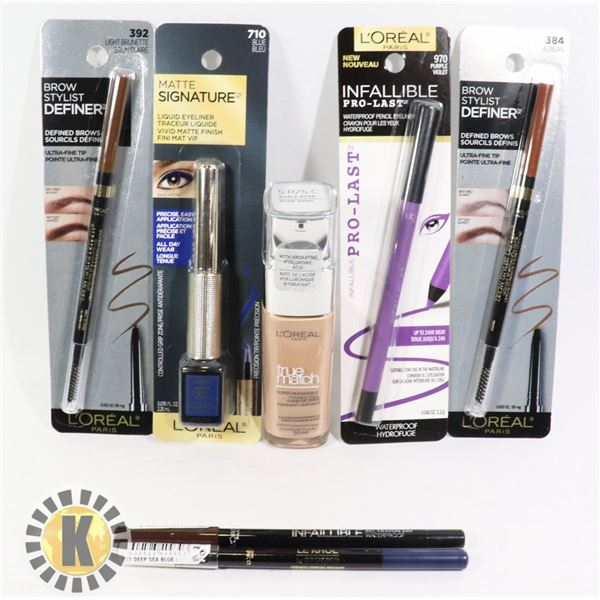 BAG OF L'OREAL EYELINERS, FOUNDATION