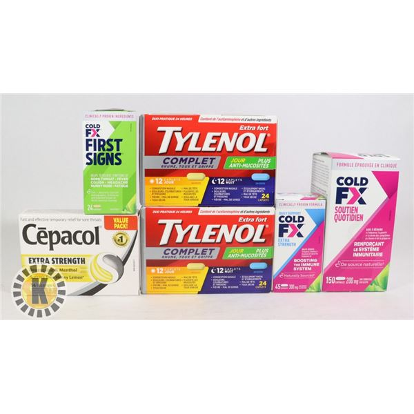 BAG OF PHARMACEUTICAL MEDICINES INCLUDES TYLENOL