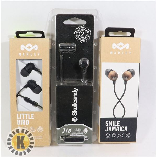 2 MARLEY EAR PHONES & 1 SKULL CANDY JIB EAR PHONE