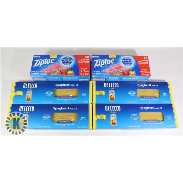 4 DECECCO SPAGHETTI PACKS & 2 ZIPLOC PACKS
