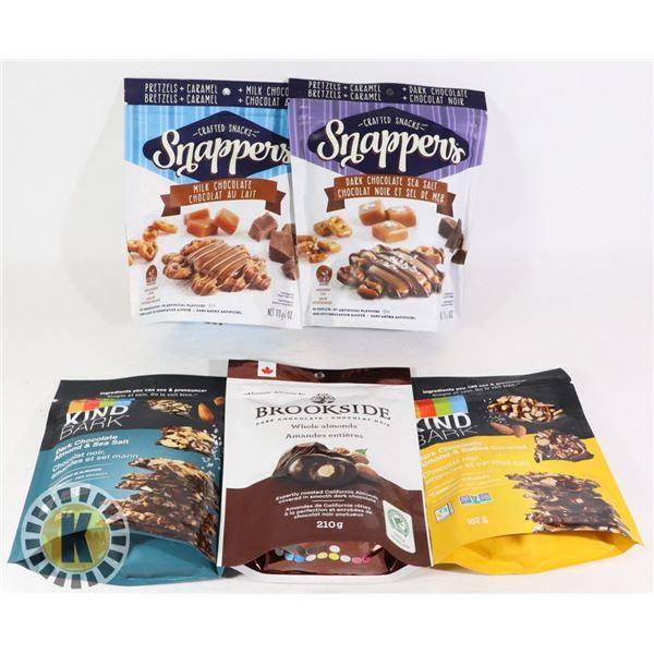 BAG OF ASSORTED CHOCOLATE  BARS & PRETZELS