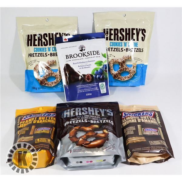 BAG OF HERSHEY'S PRETZELS AND OTHER CHOCOLATE