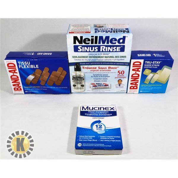 BAG OF BAND-AID & COLD MEDICINE