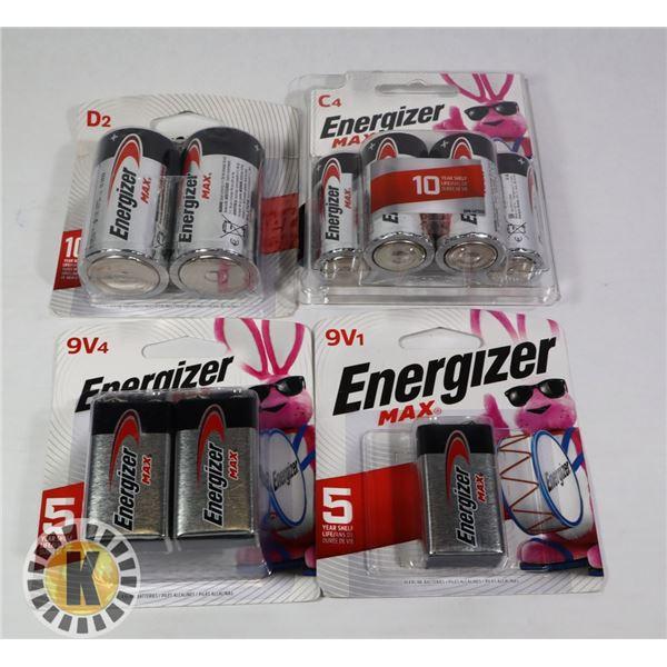 BAG OF 9V & C4 ENERGIZER BATTERIES