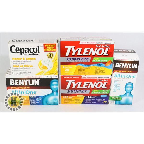 BAG OF COLD MEDICINES INCLUDES TYLENOL