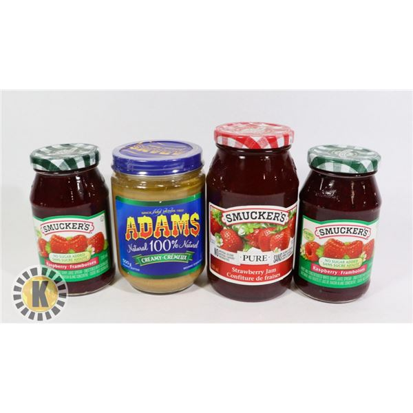 3 ASSORTED SMUCKER'S JAM AND 1 ADAMS PEANUT BUTTER