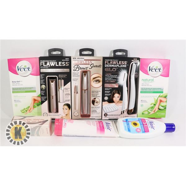 BAG OF HAIR REMOVAL ITEMS INCLUDES VEET WAX STRIP