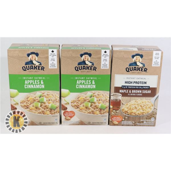 3 BOXES OF FLAVOURED QUAKER OATS