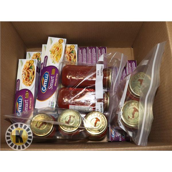 BOX OF SPAGHETTINI AND PASTA SAUCE