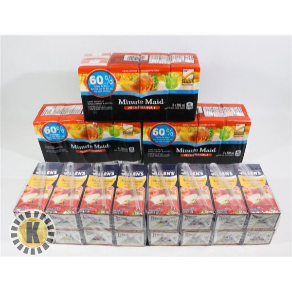 BOX OF ASSORTED FLAVOURED MINUTE MAID JUICE