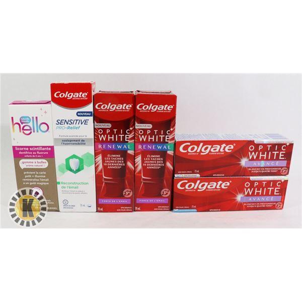BAG OF DENTAL HYGIENE CARE INCLUDES COLGATE