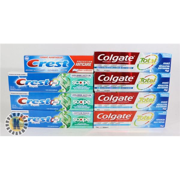 COLGATE AND CREST TOOTHPASTE