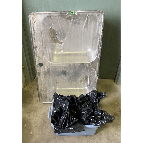 LOT OF 2 - STAINLESS STEEL DBL SINK & QTY OF GARBAGE BAGS
