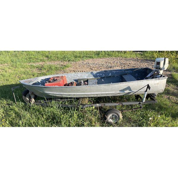 PETERBOROUGH ALUM FISHING BOAT - 12' W/ CHRYSLER 9.2 HP ENGINE - ON TRAILER