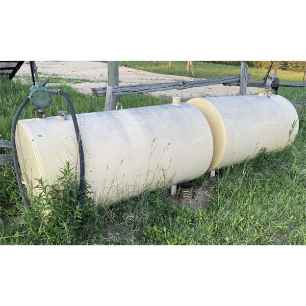 LOT OF 2 FUEL TANKS - APPROX 250 GAL EACH - 1 TANK IS FULL OF DYED DIESEL