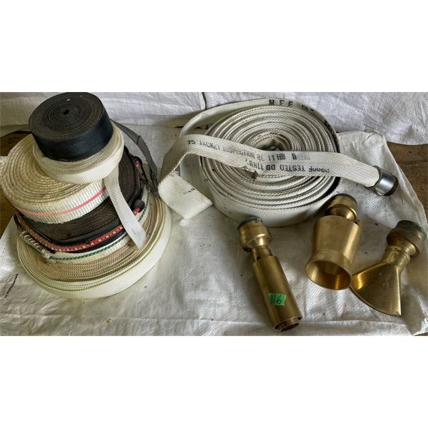 JOB LOT - FIRE HOSE, STRAPPING & 3 X BRASS NOZZLES