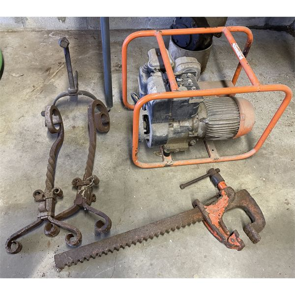 JOB LOT INCL. GENERATOR-UNTESTED, OLD PULLEY, MISC IRON ITEMS