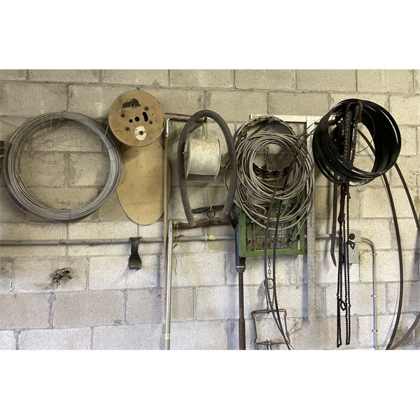 JOB LOT ON WALL INCL WIRE, BANDSAW BLADES, MISC.