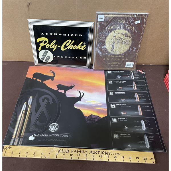 LOT OF 3 - POLY-CHOKE TIN SIGN, THE DOUBLE GUN JOURNAL AND RWS TABLE MAT