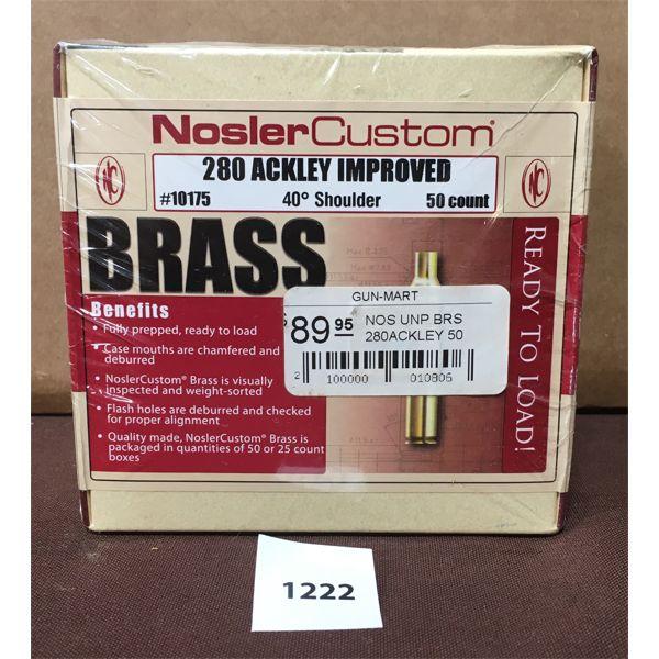 BRASS: 50X NOSLER 280 ACKLEY- NEW