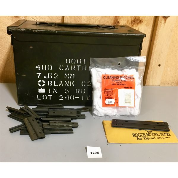 METAL AMMO BOX, RUGER SCOPE BASES 10-22, .22 CAL CLANING PATCHES, .30 CAL CLIPS