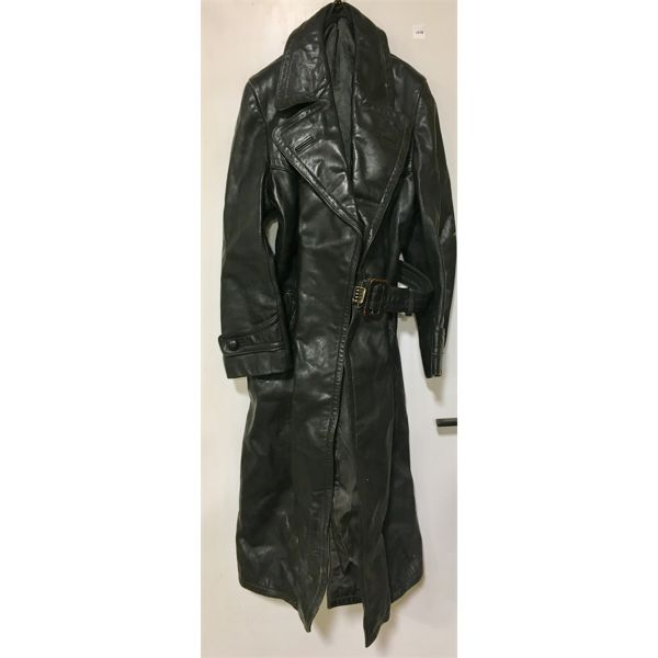 LEATHER MILITARY COAT - GERMAN STYLE W/ HOLSTER STRAP - SZ 46