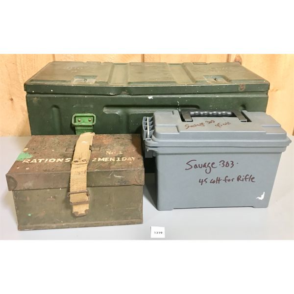 LOT OF 3 - AMMO CAN 1942, RATION CAN, SM POLY CAN
