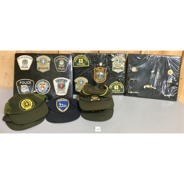 LOT OF 8 - POLICE PATCHES, PINS, CAPS - MAJORITY ARE QUEBEC